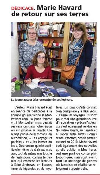 Article Marie Havard de l'Eclaireur La Dépêche - mai 2017