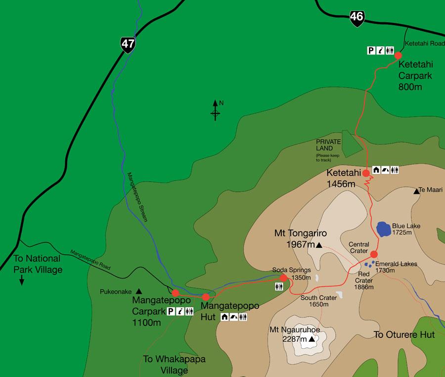 Carte Tongariro Alpine Crossing - randonnée Nouvelle Zélande