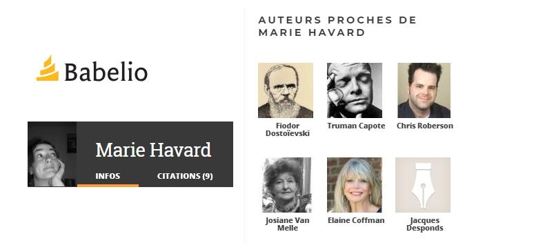 Babelio : auteurs proches de Marie Havard