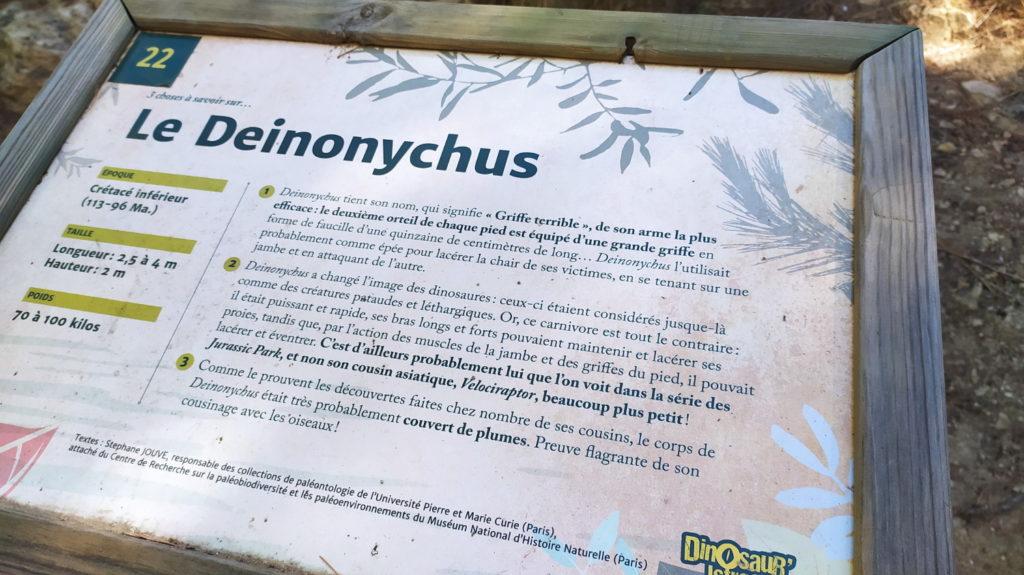 Pancarte Deinonychus - Parc dinosaures istres